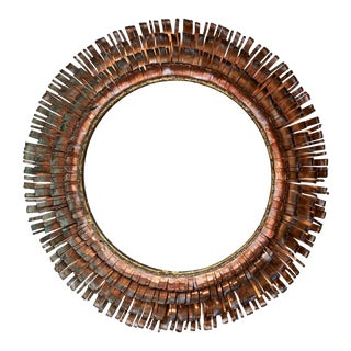 C. Jere Brutalist Metallic Concentric 'Eyelash' Mirror, ca. 1970 For Sale