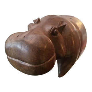 Vintage African Hippo Wooden Sculpture For Sale