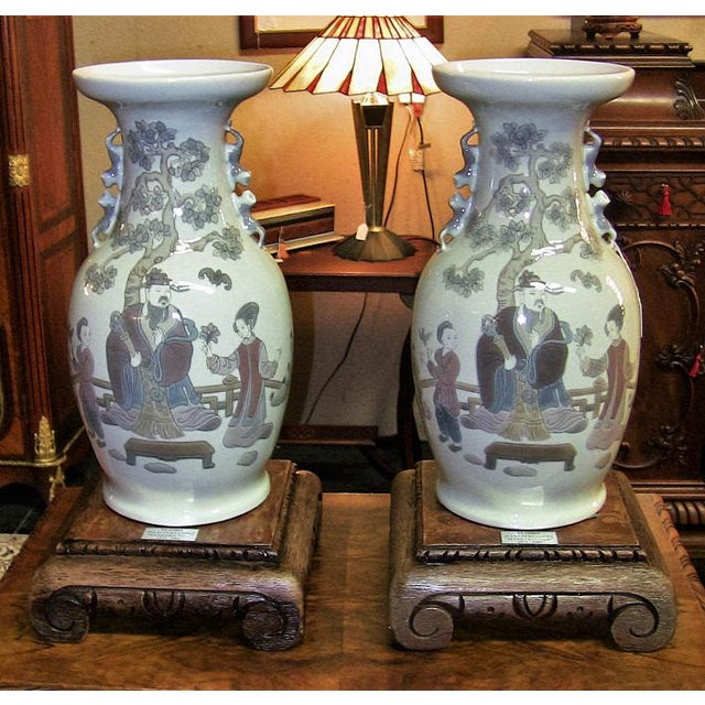 Lladro Retired Mandarin Vases - Very Rare- A Pair For Sale - Image 12 of 12