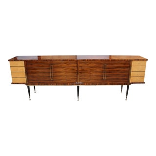 Long French Art Deco Macassar Ebony With Burl Wood Sideboard or Buffet Circa 1940s For Sale
