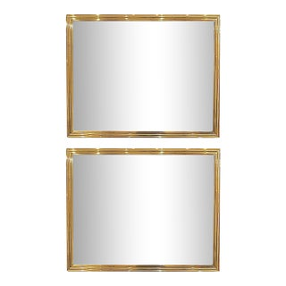 Late 20th Century Brass Mirrors - a Pair For Sale