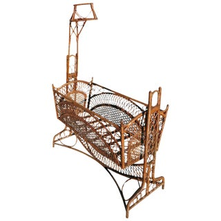 Victorian Southern Gothic Wicker Swinging Cradle For Sale
