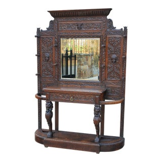 Antique English Oak 19th Century Renaissance Revival Mirrored Hall Tree Umbrella Stand For Sale