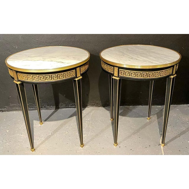 Jansen Style Bouliotte / End Tables Bronze Mounted - a Pair For Sale - Image 12 of 13