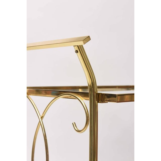 Brass Mid-Century Italian Brass Bar Cart For Sale - Image 7 of 10