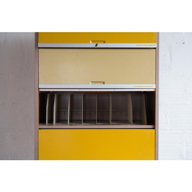 Vintage Orange & Yellow Steel Tab Office Cabinets For Sale In Portland, OR - Image 6 of 7