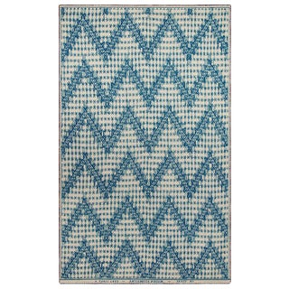 Chevrons N.32 Blue Cashmere Blanket, 51' X 71' For Sale