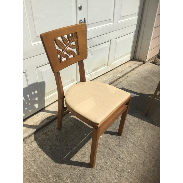 Tan Vintage Carved Art Deco Chairs - Set of 6 For Sale - Image 8 of 11