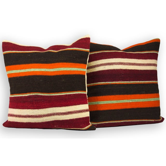 """Vibrant Striped 20"""" Overstuffed - A Pair - Image 3 of 4"""