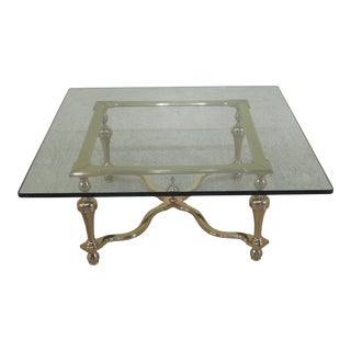 1990s Traditional Labarge Heavy Solid Brass Glass Top Coffee Table For Sale
