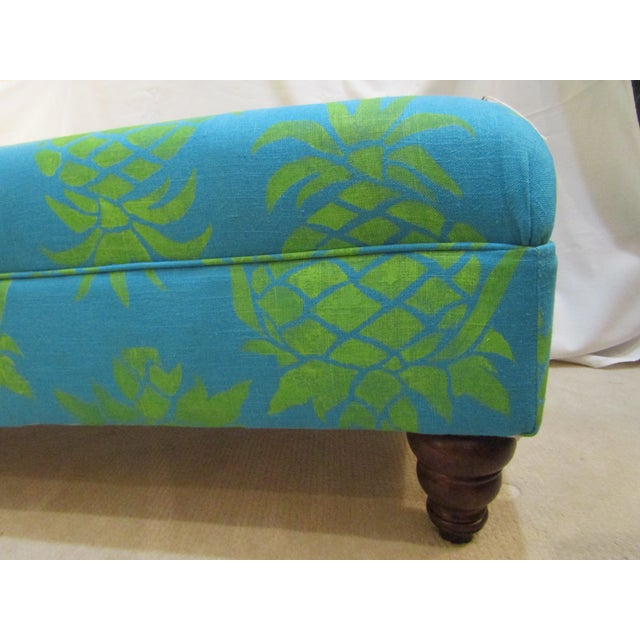 Large Turquoise Pineapple Print Ottoman - Image 5 of 5
