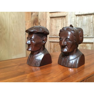 Hand Carved Mahogany Bookends - A Pair Preview