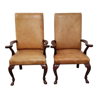 Ralph Laruen Carved Mahogany & Leather Upholstered Arm Chairs With Hoofed Feet For Sale