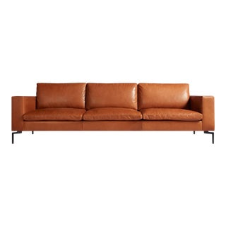 Mid-Century Modern Blu Dot New Standard Toffee Leather Sofa For Sale