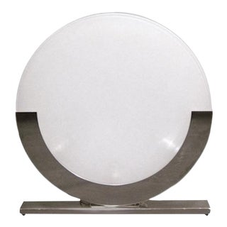1990s Modern Italian Design White and Chrome Round Table Lamp For Sale