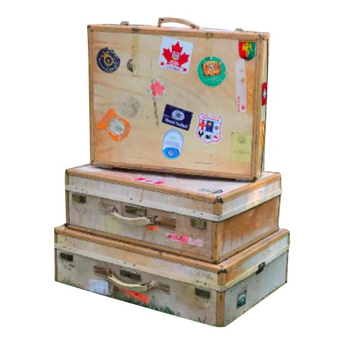 3 Travel Suitcases, Vintage Stickers, Trio of Stacking Cases For Sale