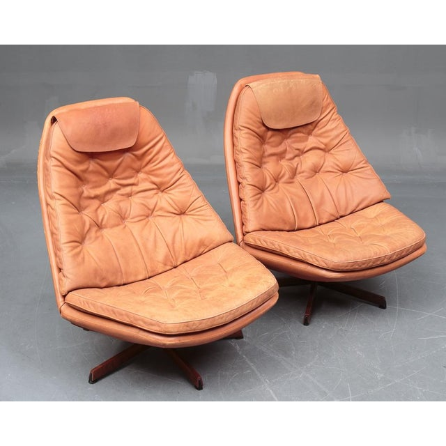 Danish Modern Danish Leather Swivel Chairs & Ottomans - A Pair For Sale - Image 3 of 11