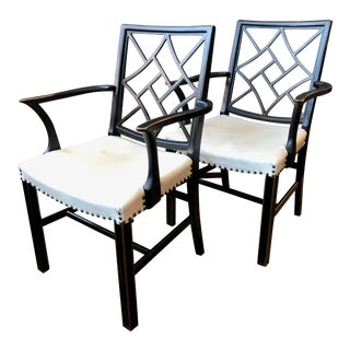 Vintage Regency Chinese Chippendale Arm Chairs- Pair For Sale