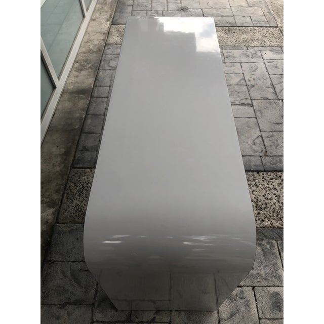 1980s Contemporary Gray Laminate Waterfall Desk For Sale - Image 9 of 10