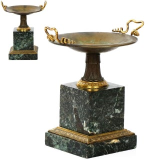 Traditional French Bronze and Green Marble Tazzas - A Pair