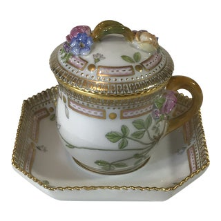 Royal Copenhagen Flora Danica Demitasse With Lid and Saucer Butter Cup - 3 Piece Set For Sale
