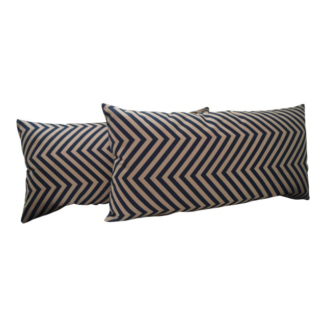Taupe Triangular Stripe Pillows - a Pair - Image 1 of 3