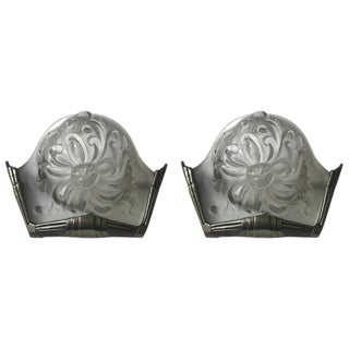 French Art Deco Sconces Signed by Sabino - A Pair For Sale