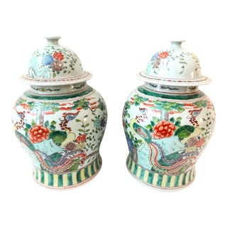 Famille Rose Ginger Jars with Peacocks - A Pair
