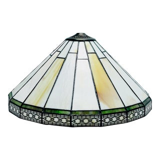 """Vintage Tiffany Art Deco Style Slag Stained Glass Lamp Shade 16"""" For Sale"""