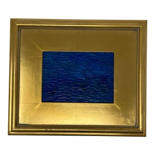 Royal Blue Abstract Painting, Framed For Sale