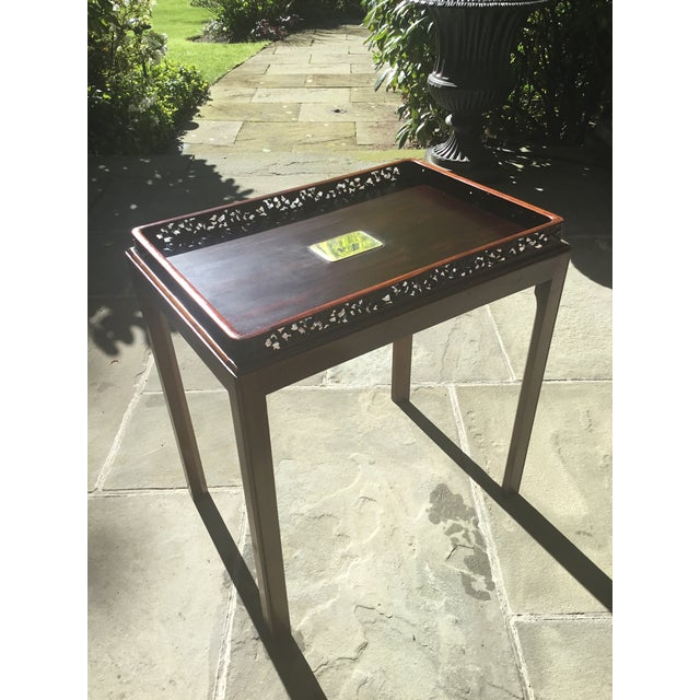 Brown Chinoiserie Chippendale Rosewood Tray Table For Sale - Image 8 of 12