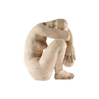 Henri Albert Lagriffoul Signed Clay Sculpture of a Nude Woman For Sale