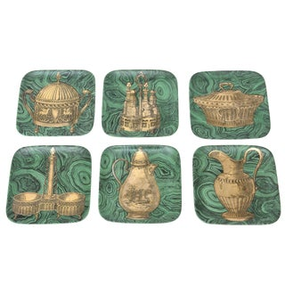 Set of 6 Mid Century Italian Piero Fornasetti Porcelain/Gold Stovigle Plates For Sale