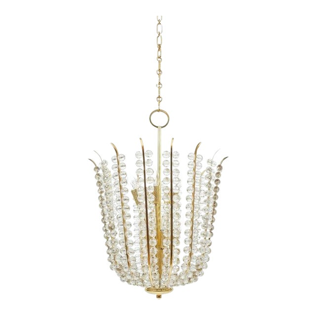 Majestic Basket Crystal and Brass Chandelier Bakalowits, circa 1950 For Sale