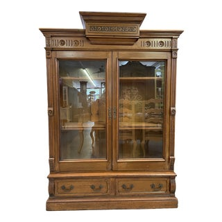 Antique Eastlake Victorian Bookcase with Glass Front Pediment Top For Sale