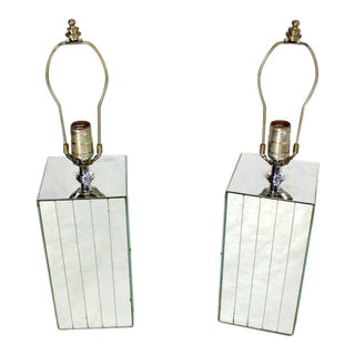 Pair of Cube Shape Mid-Century Modern Mirrored Table Lamps For Sale