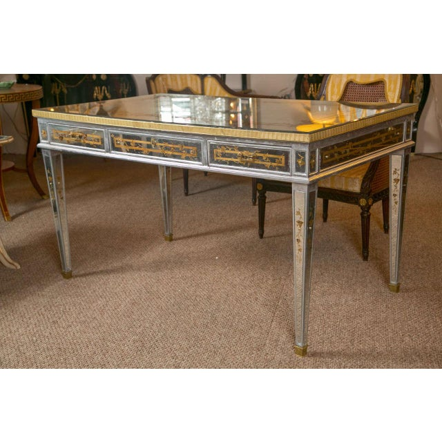 French Louis XVI Style Verre Eglomise Desk - Image 9 of 9