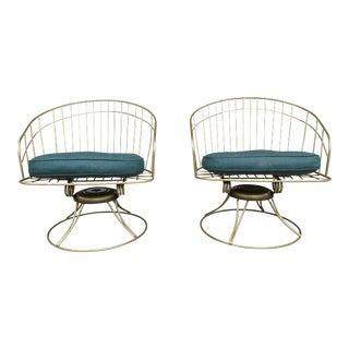 1960s Vintage HomeCrest Wire Swivel Barrel Chairs - a Pair For Sale