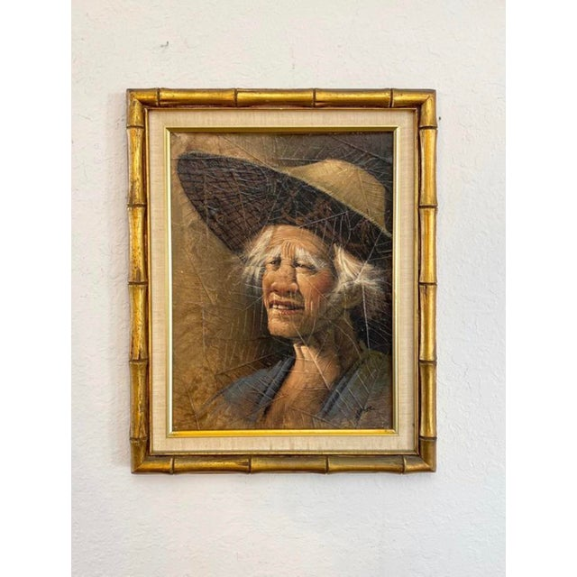 Mid-Century Modern Vintage Mid Century Modern Oil on Tobacco Leaf Portrait Paintings - a Pair For Sale - Image 3 of 4