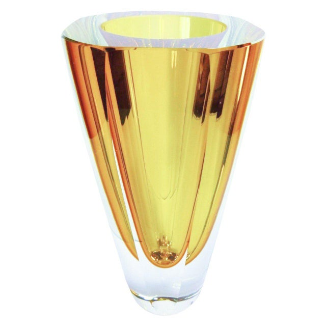 Seguso Vetri d'Arte Large Amber Murano Glass Vase by Flavio Poli For Sale - Image 4 of 4