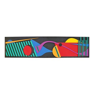 Contemporary Modern Memphis Painted Wood Assemblage Wall Art Sculpture Relief For Sale