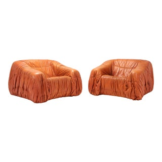 Cognac Leather Postmodern Lounge Chairs by De Pas, D'urbino & Lomazzi For Sale