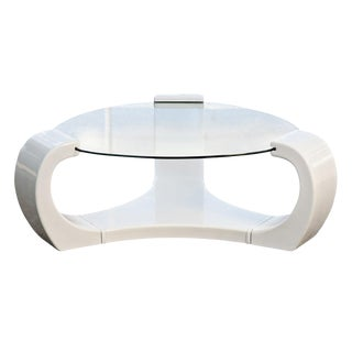 White Lacquered Triskelion Scroll Coffee Table For Sale