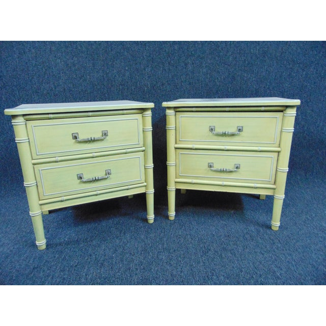 Hollywood Regency Hollywood Regency Style Cream & Yellow Faux Bamboo Nightstands - a Pair For Sale - Image 3 of 10