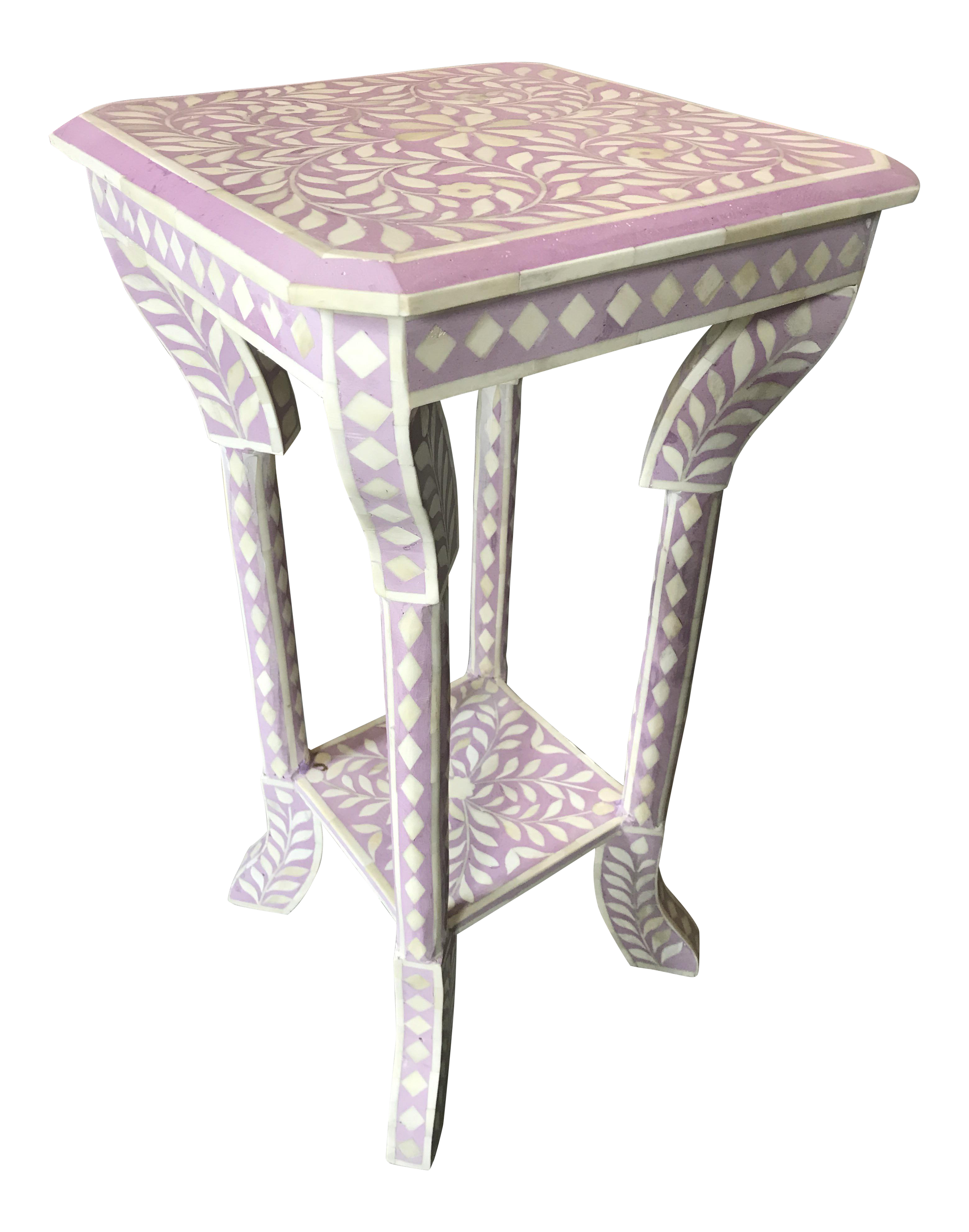 Lilac Bone Inlay Side Table