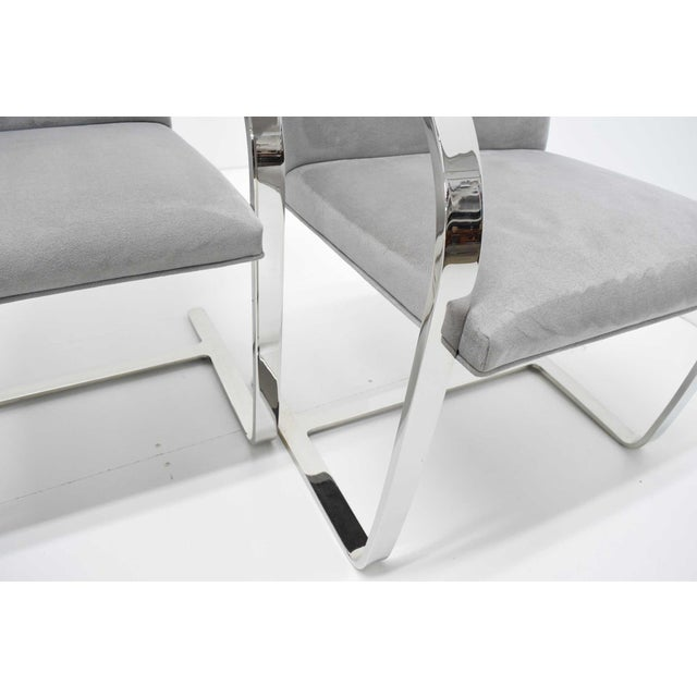 Metal Mies Van Der Rohe Gray Suede Brno Chairs - Set of 4 For Sale - Image 7 of 9