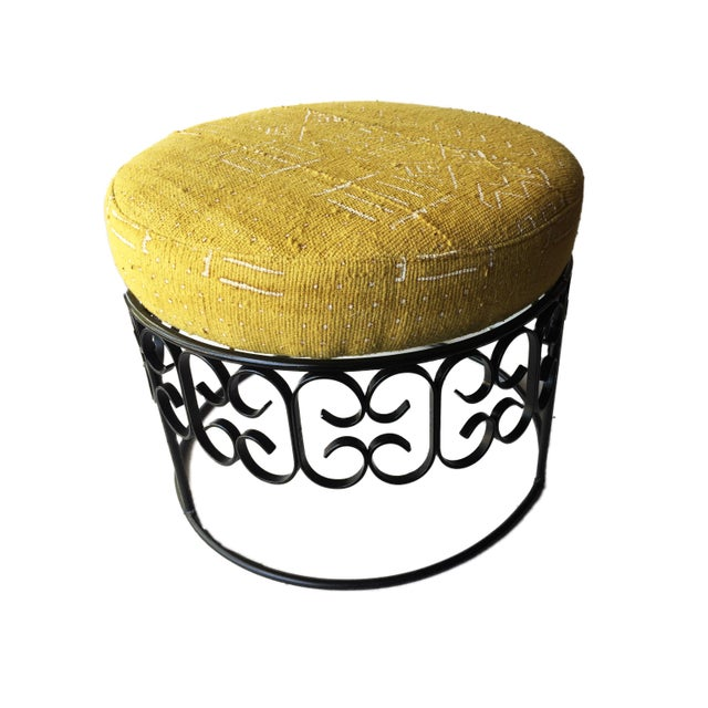 1990s Fer Forge Round Ottoman W/Mustard /White Mud Cloth For Sale - Image 5 of 8