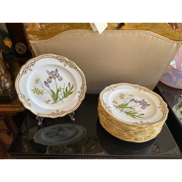 Ceramic Spode English Dinner Stafford Flowers Bone Plates - 14 Pieces For Sale - Image 7 of 9