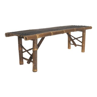 Vintage Bamboo Bench For Sale
