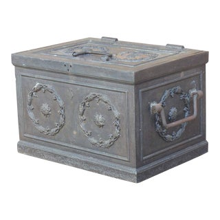 19th Century Antique Decorative Iron Safe For Sale